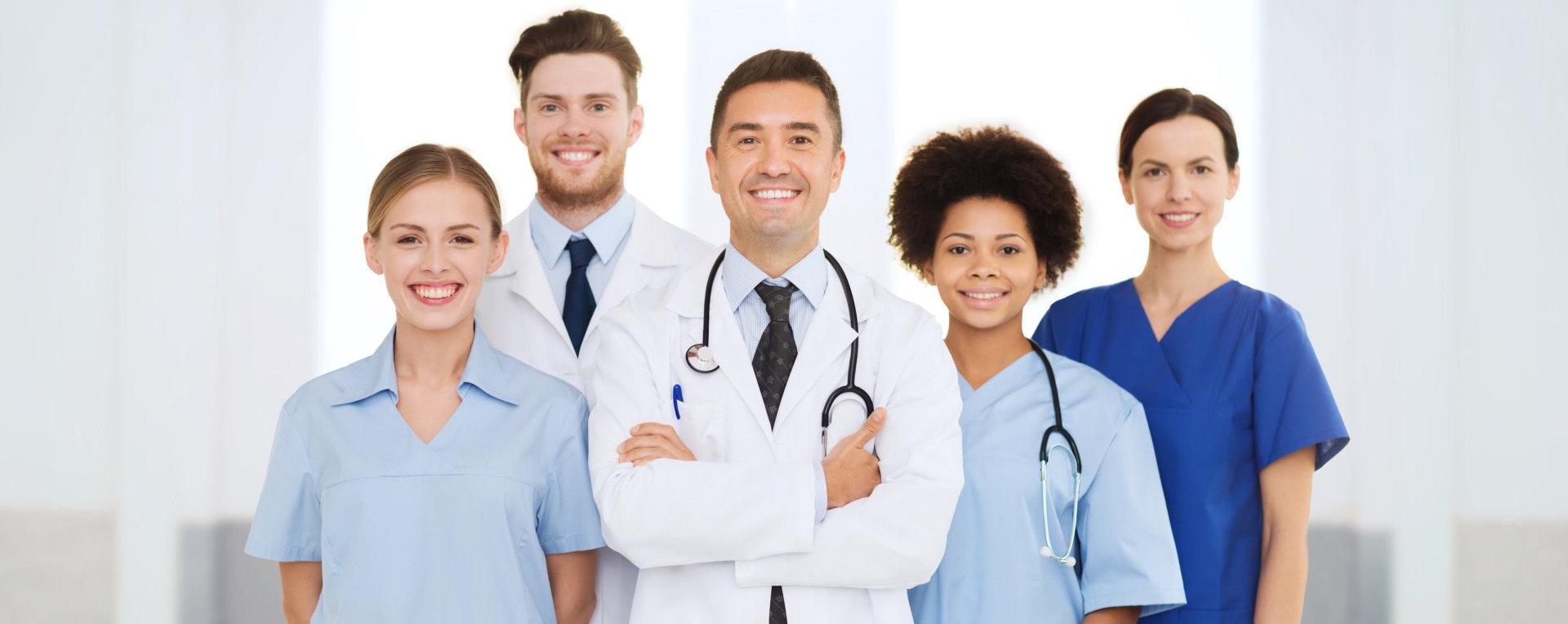 medical professionals smiling indoor